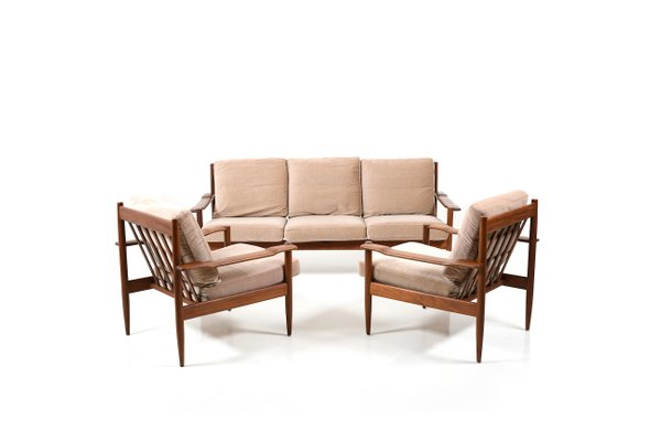 Mid-Century Danish Sofa & Armchairs, Set of 3