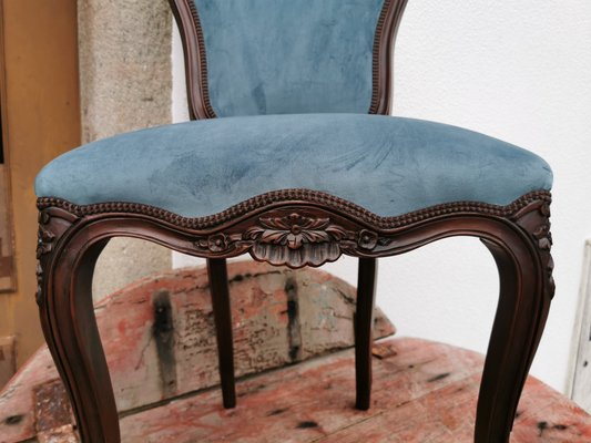 French Mahogany And Blue Velvet Dining Chairs 1930s Set Of 5 For Sale At Pamono