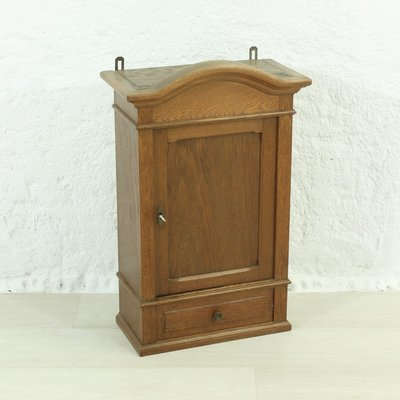 Antique Oak Veneer Wall Mounted Cabinet