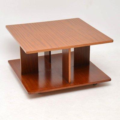 Table Basse En Teck Avec Tabourets Gigognes Bleus Annees 60 Set