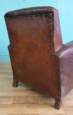 French Leather Club Chair 1920s