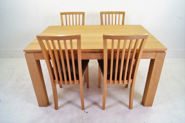 Danish Oak Dining Table Chairs Set