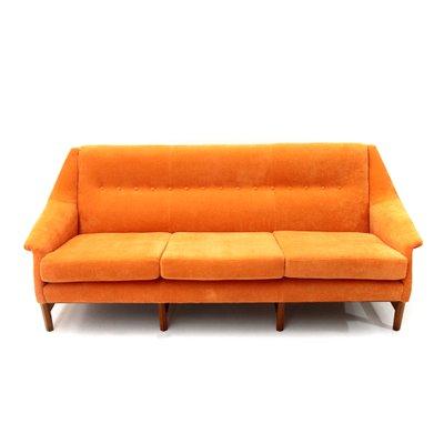 Orange Velvet 3-Seater Sofa, 1960s