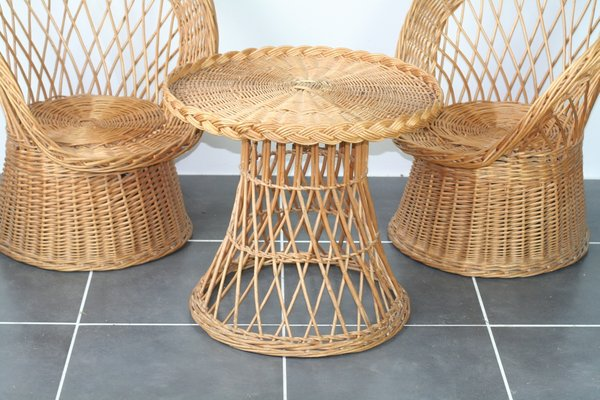 Excellent Rattan Chairs And Table 1970S Set Of 3 Uwap Interior Chair Design Uwaporg
