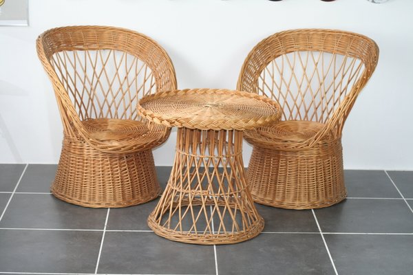Superb Rattan Chairs And Table 1970S Set Of 3 Uwap Interior Chair Design Uwaporg