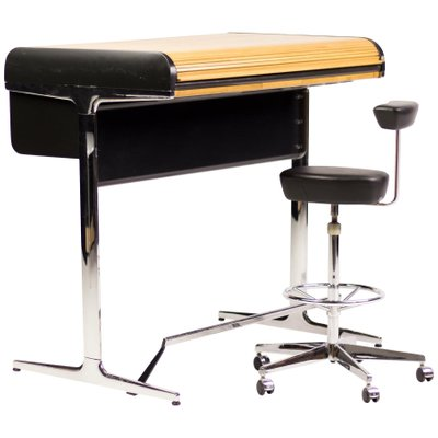 Awesome Roll Top Desk And Chair By George Nelson Associates For Herman Miller 1970S Set Of 2 Dailytribune Chair Design For Home Dailytribuneorg