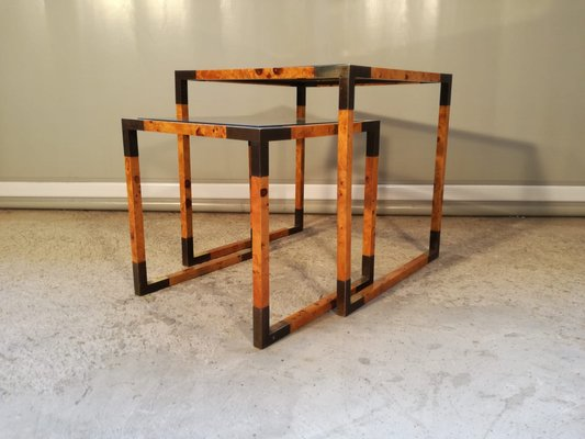 Mid Century Walnut And Brass Coffee Tables Set Of 2