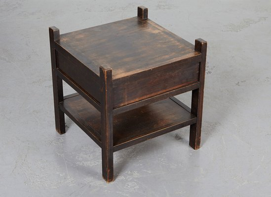 Dutch Dark Wood Cabinet And Side Table 1930s Set Of 2