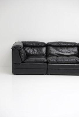 Vintage Black Leather Modular Sofa