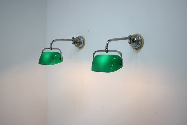 Green Glass Banker Sconces, 1930s, Set of 2