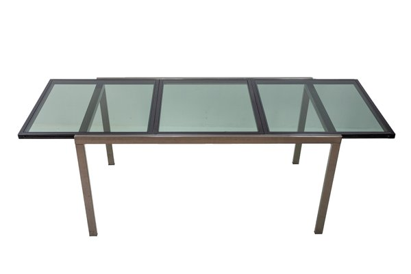 Smoked Glass Extendable Dining Table By Milo Baughman 1972 For