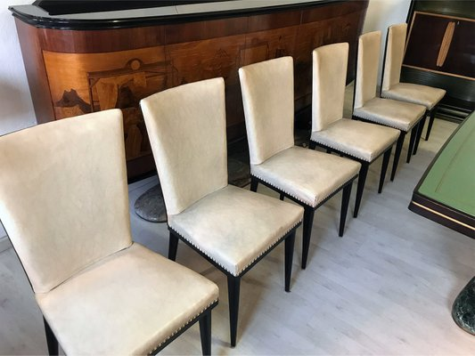 Mid Century Italian Rosewood Dining Table Chairs Set By Vittorio Di 1950s Of 8