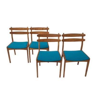 Mid Century Danish Oak Dining Chairs, 1960s, Set of 4