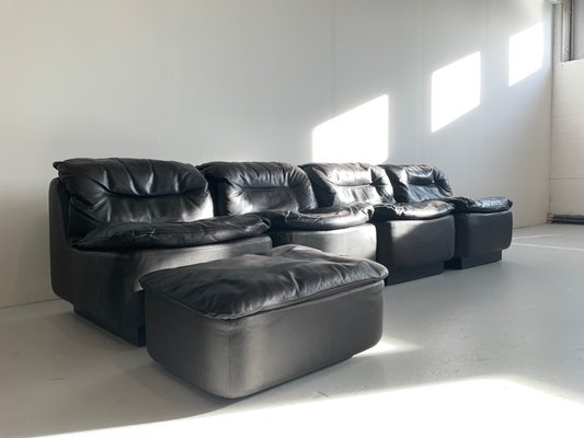 Remarkable Vintage Black Leather Sofa And Ottoman By Friedrich Hill For Walter Knoll Wilhelm Knoll 1972 Spiritservingveterans Wood Chair Design Ideas Spiritservingveteransorg