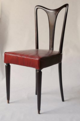 Red Leather Dining Chairs 1940s Set