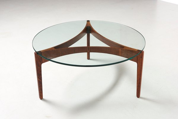 Round Gl And Rosewood Coffee Table By Sven Ellekaer For Linneberg 1960s