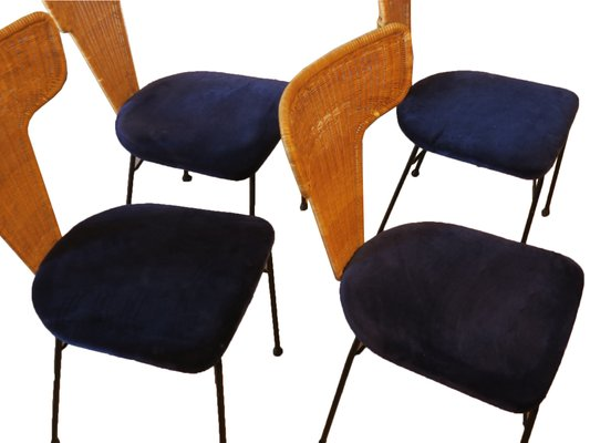 Italian Rattan And Black Metal Dining Chairs 1950s Set Of 4 For Sale At Pamono