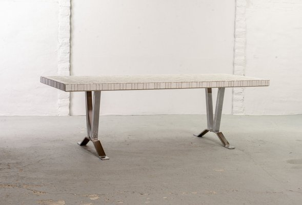 Large Mid Century White Ceramic And Chrome Coffee Table 1960s For Sale At Pamono
