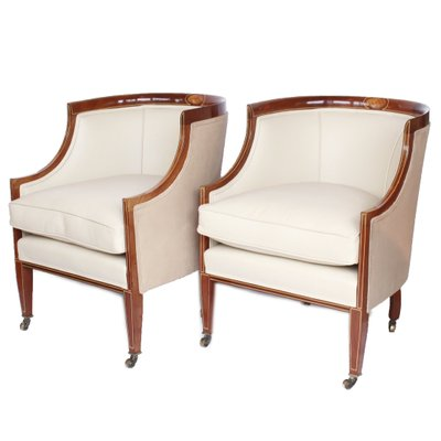 Super Mahogany And Cream Leather Library Tub Chairs 1920S Set Of 2 Customarchery Wood Chair Design Ideas Customarcherynet