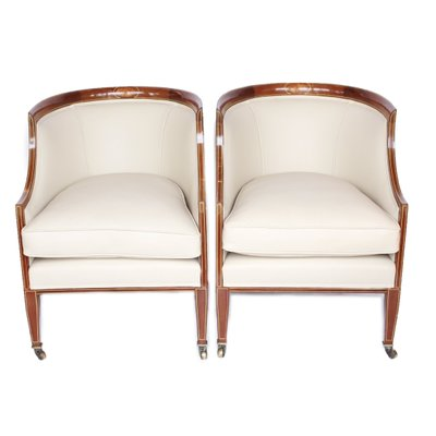 Peachy Mahogany And Cream Leather Library Tub Chairs 1920S Set Of 2 Customarchery Wood Chair Design Ideas Customarcherynet