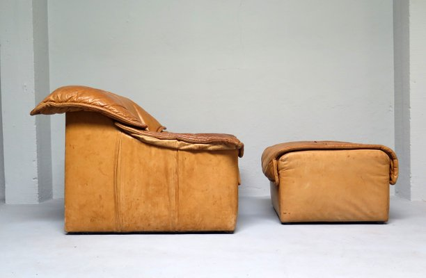 Strange Cognac Leather Couch With Ottoman 1970S Bralicious Painted Fabric Chair Ideas Braliciousco