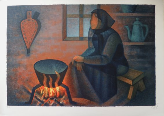 Louis Toffoli The Brasero Original Signed Lithograph For Sale