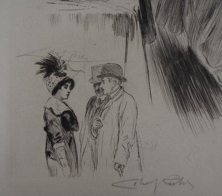 La promenade Engraving by Alméry Lobel Riche