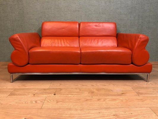 Vintage Italian Red Leather Sofa
