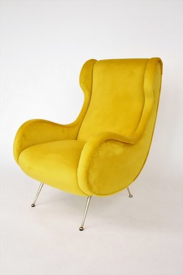 Italian Brass And Velvet Armchair 1950s For Sale At Pamono