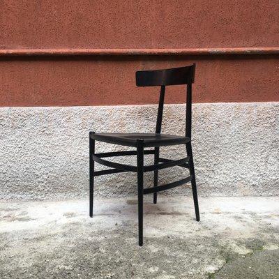 Silla de comedor italiana esmaltada en negro de Cappellini, años 80