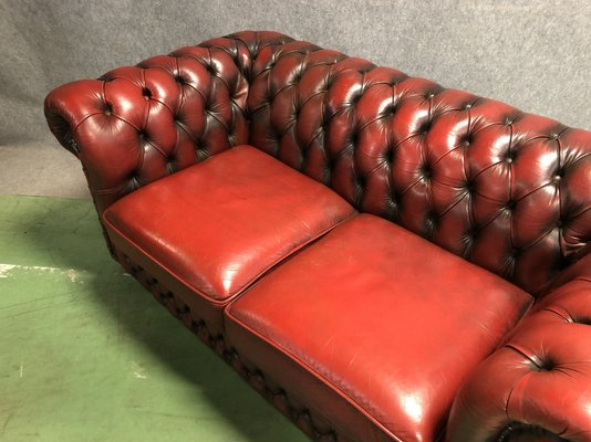 Phenomenal Red Leather Chesterfield Sofa 1970S Bralicious Painted Fabric Chair Ideas Braliciousco