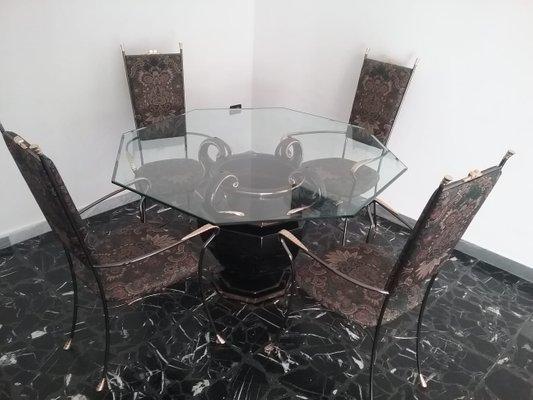 Tavolo da pranzo in ceramica, vetro e metallo, anni \'80, set di 5
