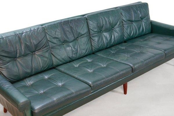 Danish Green Leather 4-Seater Sofa by Svend Skipper for Skipper, 1960s