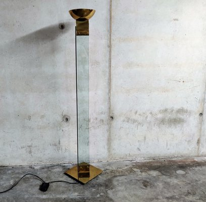 Vintage Brass And Glass Floor Lamp 1970s For Sale At Pamono