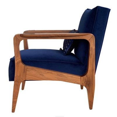 Art Deco Style Black American Walnut And Lush Cotton Velvet Atena Armchair By Casa Botelho For Sale At Pamono