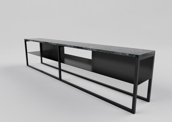 Black Powder Coated and Marble Eros TV Console Table by Casa