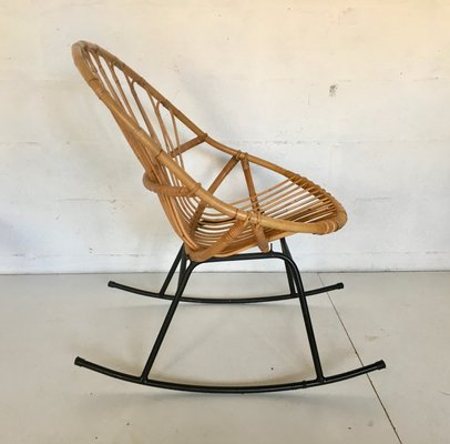 Miraculous Mid Century Rattan Rocking Chair Gmtry Best Dining Table And Chair Ideas Images Gmtryco