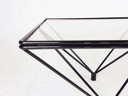 Vintage Black Metal And Tinted Glass Coffee Table For Sale At Pamono
