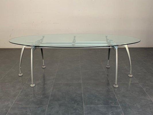 Tavolo ovale Tiper in vetro di Roberto Danesi per Frezza, anni \'90