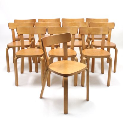 Model 69 Dining Chairs By Alvar Aalto For Artek 1950s Set Of 12 For Sale At Pamono