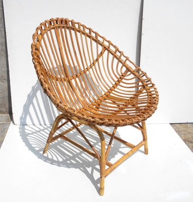 Italian Rattan Egg Chair And Table Set 1950s For Sale At Pamono