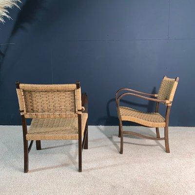 Cool Wood And Rope Lounge Chairs 1960S Set Of 2 Inzonedesignstudio Interior Chair Design Inzonedesignstudiocom