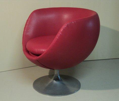 Italian Red Vinyl Egg Swivel Chair From