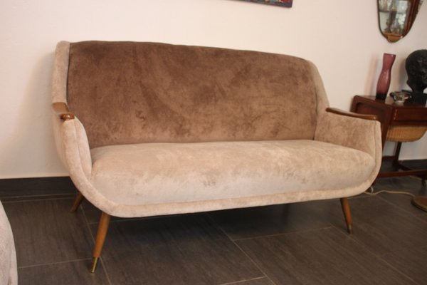 Living Room Sofa and Side Chairs, 1950s, Set of 3