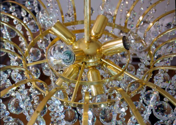 Contemporary Gold Plated Chandelier With Swarovski Crystal