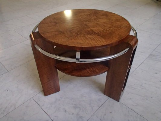 Art Deco Walnut Burr And Chrome Coffee Table 1930s