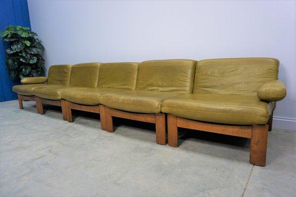 Dutch Oak And Leather Modular Sofa