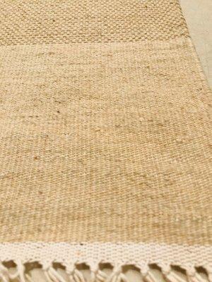 Alfombra Kilim india de lana beige y azul y algodón, años 70