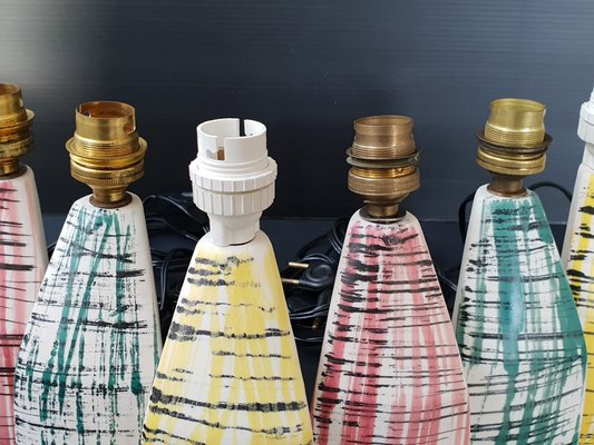Mid Century French Ceramic Tripod Table Lamps By Roland Brice 1950s Set Of 6