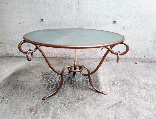 Tavolino da caffè in ferro battuto di René Drouet, anni \'40